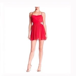 Dresses & Skirts - Ruched cutout mini dress red large NWT